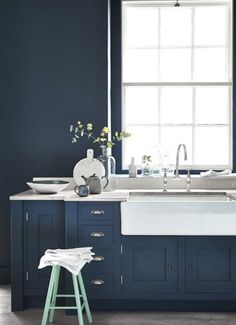 navy blue cabinets (little greene paint)