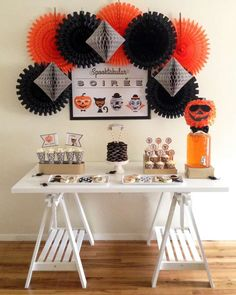 Amazing Halloween party dessert table and backdrop!  See more party planning ideas at CatchMyParty.com!
