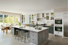 love the floor, the grey Ikea cabinets!!