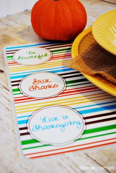 Free printables for Thanksgiving Placemats on the Shutterfly blog.