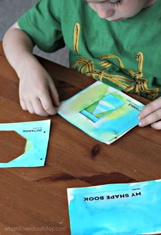 DIY shape book with free printable. Teaches shape names and relative size.