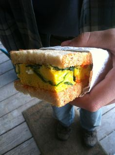 Supreme Spinach and Egg Breakfast Sandwiches by foodiewithfamily: Hearty, healthy, frugal and filling, these simple egg and spinach breakfast sandwiches are the happy combination of a spinach, egg and cheese bake that is made ahead of time and frozen in individual portions. When it's time to eat, just reheat as many portions as you need. What a great way to start the day! #Breakfast #Sandwich #Egg #Make_Ahead #foodiewithfamily