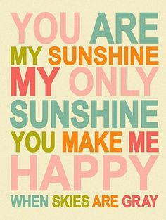 You Are My Sunshine //  #quote #wall #art