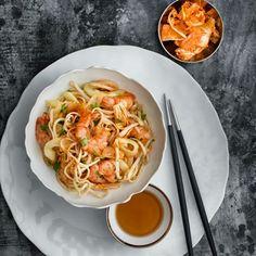 Prawn, kimchi and noodle salad