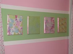 Cheap Wall Art - Canvas covered with scrapbook paper, or could use fabric.