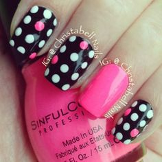 Cute polka dot nails!
