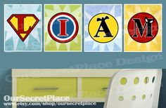 PRINTABLE Any Size Monogram Superhero Logo Symbol Initial Name Art Nursery Boy Room Play Wall Art Decor Your Child's Name Spelled Out on Etsy, $45.00