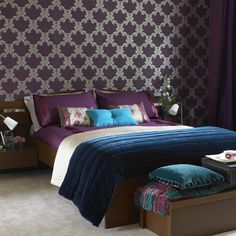 sumptuous turquoise, plum and silver bedroom