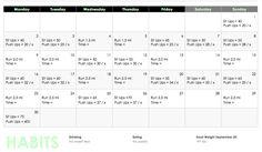 Challenge 30 day  September goals calendar  push ups sit ups running plan workout schedule  police POPAT training weight loss weight management toning