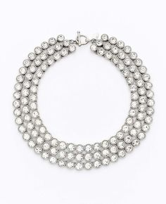 Ann Taylor Silver Triple Row Crystal Statement Necklace