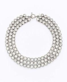 Ann Taylor Silver Tripe Row Crystal Necklace