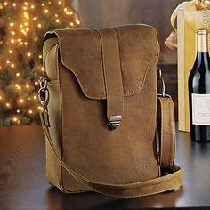 Genuine Leather 2-Bottle Wine Saddle Bag at Wine Enthusiast - $99.95