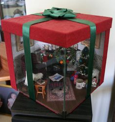 1:12 Miniature Christmas Gift Box Everything is scratch built by me except the tree which I just had to decorate