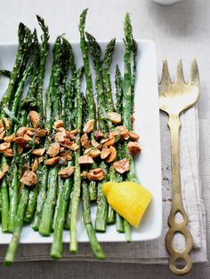 Roasted Asparagus with Marcona Almonds and Browned Butter @Heidi Haugen Haugen | FoodieCrush