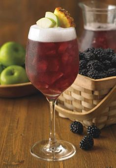 blackberry sangria- One pint of blackberries macerated with 1/2 cup of raspberry vodka 1 Bottle of Moscato wine 1.5 cups of pineapple juice.