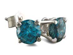 1 1/2ct Blue Diamond Stud Earrings in 14k White Gold. $599.97