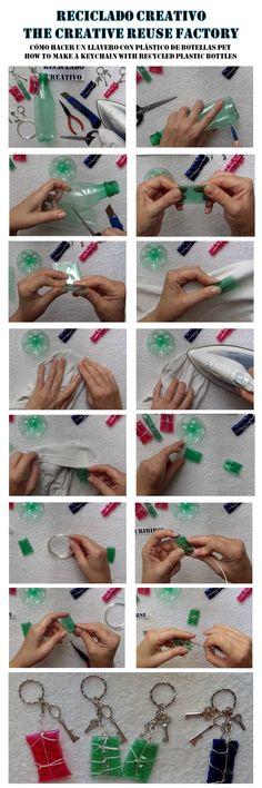 Paso a paso de unos llaveros realizados reciclando botellas de plástico – Keychain made out of recycled plastic bottles