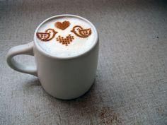 Love Birds coffee stencil. Cute valentine!