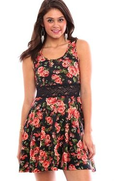 Deb Shops Floral Print Skater Dress with Lace Illusion Waist