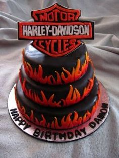 Harley Davidson Motorcycle Birthday Cake and Cupcakes