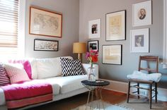 wall colors, graphic print, corynn pless, living rooms, gray walls, colorful quilts, family rooms, wall colours, live room