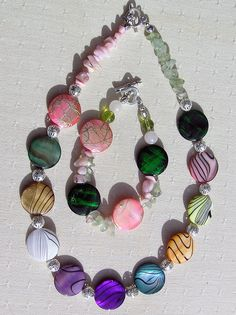 Necklace & Bracelet Set  Mother of Pearl with by SunnyCrystals, £20.25