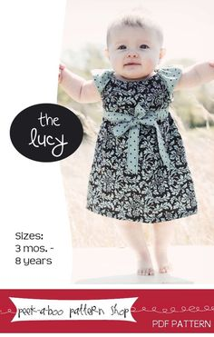 fairytale frocks and lollipops :: peek-a-boo patterns shop, the lucy dress, girl, baby, toddler, infant, summer, spring, fall, school, play, sun, elastic, easy, child, sewing, instant, download, pdf, e-pattern, e-book, tutorial, digipattern, knee length