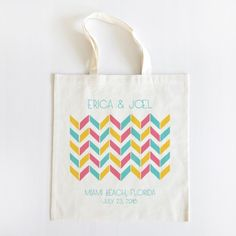 Awesome Tri Color Chevron Wedding Tote Set of 20 - too expensive, but good inspiration