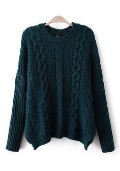 Navy Plain Blue Irregular Round Neck Cotton Sweater