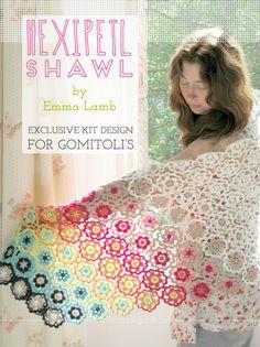 Hexipetl Shawl : Exclusive kit design by Emma Lamb for the Italian yarn company Gomitoli's   Emma Lamb #crochet #kit #shawl #flowers #crochetdesigner