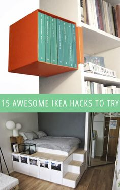 15 Awesome IKEA Hacks. Makayla would love the bed on the bottom in her new room.