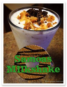 "Sugar Free Caramel ""Samoas"" Milkshake [S]  If you're a die hard Samoas fan, this shake perfectly captures the flavors and delightful caramel-coconut crunch of your favorite cookie…but without all of the sugar. This recipe from Jennifer Morris earns badges for being delicious as a snack or a meal replacement smoothie with a bit of protein powder added. Enjoy! - See more at: http://www.gwens-nest.com/family-favorite-recipes/low-carb-samoas-milkshake/#sthash.ZbcZNV29.dpuf"