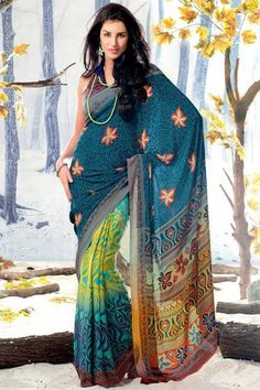 Traditional Printed Party Saree; Cerulean Blue and Yellow Crepe Printed Casual and Party Saree