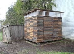 8 x 10 studio shed made from recycled redwood fencing with a plywood and pegboard interior. Minimalist storage for minimalist dwellings....