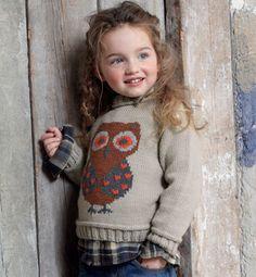 Modèle pull hibou en jacquard - Modèles tricot enfant - Phildar