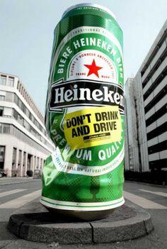 Heineken Column Advertisement  Clever Heineken beer column advertisement from Switzerland reminds us not to drink and drive