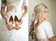 textured ballgown modest wedding dress with lace sleeves