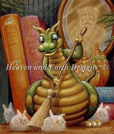 Rounding Up The Dust Bunnies cross stitch pattern from Heaven and Earth Designs