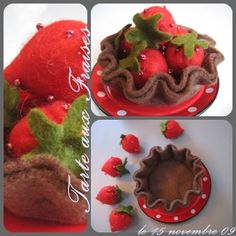 strawberry tart (and other felt and crocheted PF tutorials)