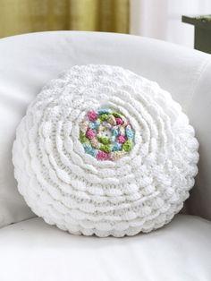 Ruffles Pillow | Yarn | Free Knitting Patterns | Crochet Patterns | Yarnspirations