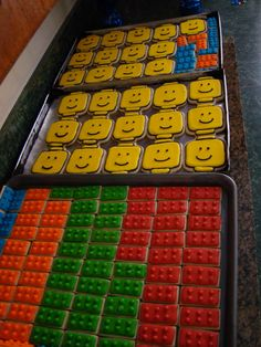 Lego cookies for a Lego-themed birthday party! Love it!