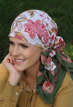 head scarf - woodblock scarves for cancer chemotherapy alopecia
