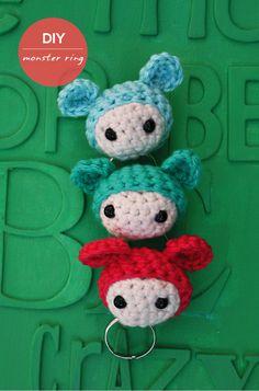 how cute ! #diy free crochet pattern monster