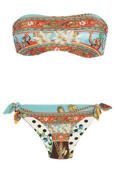 Reversible printed bandeau bikini by Dolce & Gabbana