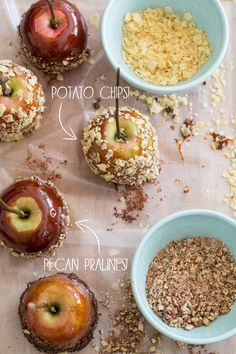 Potato Chip and Pecan Praline Bourbon Caramel Apples! Sugar and Charm