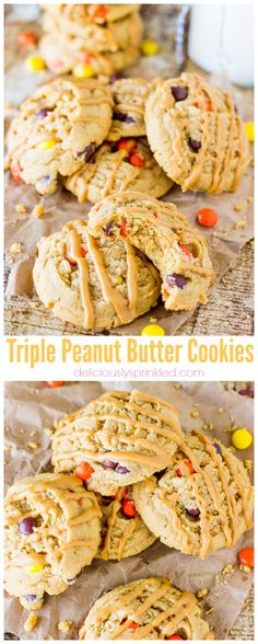 Triple Peanut Butter Cookies | Deliciously Sprinkled