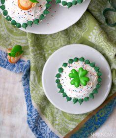 Stuffed St. Patrick's Day Funfetti cupcakes