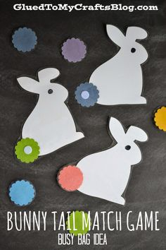 Bunny Tail Match Game - Busy Bag Idea. #preschool #efl #education (repinned by Super Simple Songs)