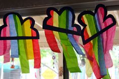 Rainbow/cloud: tissue paper suncatcher