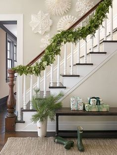 giant paper snowflakes stair, christma decor, white, paper snowflakes, holidays, papers, christmas decorating ideas, christmas garlands, country